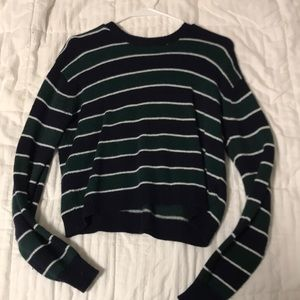 Navy, green, white striped sweater
